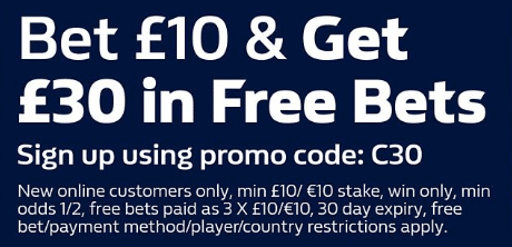 Bet 10 GBP and get 30 GBP in free bets